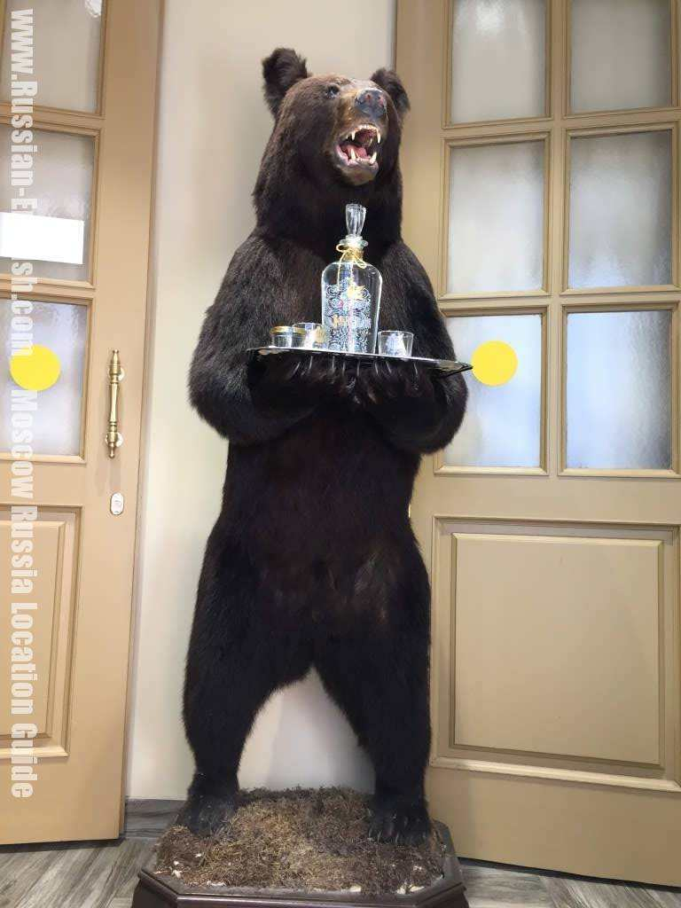 Russian bear greeting the visitors at the local café located in Central Moscow.